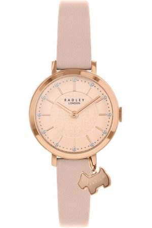 Radley Women Watches - Ry2864 Rose Gold Detail Glitter Dial With Dog Charm And Blush Leather Strap Ladies Watch