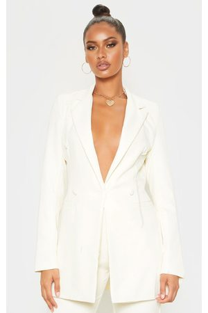 PRETTYLITTLETHING Women Summer Jackets - Cream Double Breasted Woven Blazer