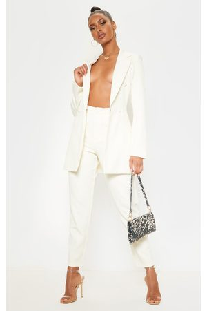 PRETTYLITTLETHING Cream Cropped Trousers