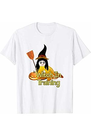 Halloween Madness Gift Designs Witch In Training Sweet Little Girl Pumpkin Broom T-Shirt