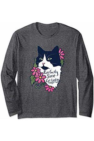 SnuggBubb Purrfectly sane cat lady fluffy tuxedo cat Long Sleeve T-Shirt