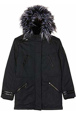 IKKS Girl's Parka Longue Noire Capuche Interieur Sherpa Raincoat, 02