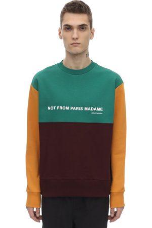 Drôle de Monsieur Paneled Color Block Slogan Sweatshirt
