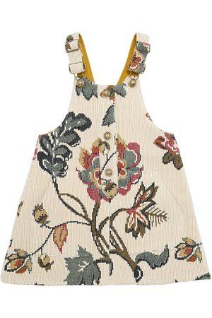 Oscar de la Renta Floral Wool Jacquard Overall Dress