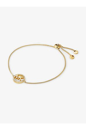 Michael Kors Bracelets - MK Precious Metal-Plated Sterling Silver Logo Slider Bracelet