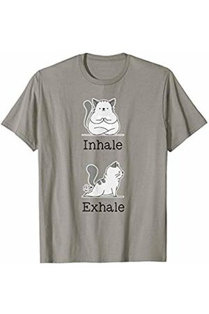 Funny Cute & Stylish Yoga Workout Tees Yoga Inhale Exhale Cartoon Cat Yogi Fart Workout Humorous T-Shirt