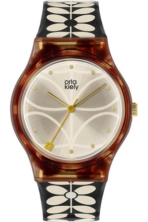 Orla Kiely Bobby Champagne And Tortoise Shell Dial Black And White Stem Print Strap Ladies Watch