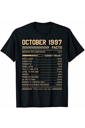 Funny Nutrition Facts Birthday For Men Women October 1997 Funny Nutrition Facts 22nd Birthday Gift T-Shirt