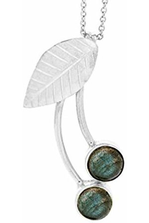 Nova Silver Cherry design Pendant with round Labradorite stones on 18 inch (46cm) Chain in presentation box