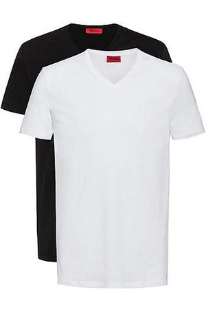 HUGO Men Short Sleeve - Two-pack of V-neck T-shirts in stretch-cotton jersey