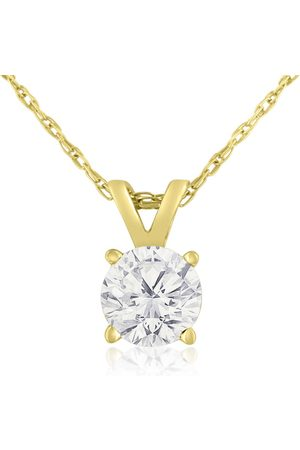 Hansa .55 Carat Round Brilliant Solitaire Diamond Pendant Necklace in 14K w/ Free 18 Inch Chain (E-F, I2 Clarity Enhanced) in Sterling Silver by