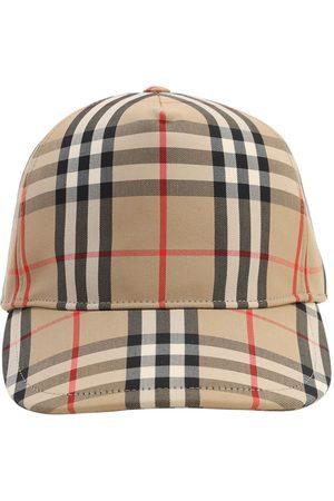 Burberry Check Cotton Blend Canvas Baseball Cap