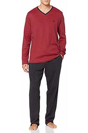Hom Men's Smartness Long Sleepwear Pyjama Set, (Haut: Rayé Rouge Et Bas: Gris Foncé 3284)