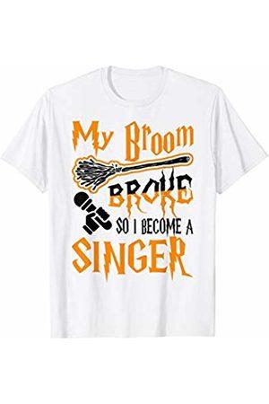 Jiyopike Designs My Broom Broke So I Become Singer Halloween T-Shirt