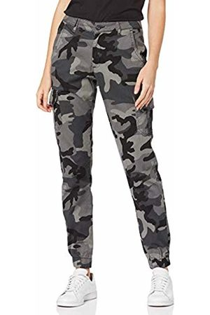Urban classics Women's Ladies High Waist Camo Cargo Pants Trouser, (Dark 00784)