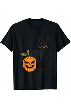 FUNNY GRAPHIC FASHION CLOTHING WARDROBE APPAREL Scary Pumpkin & Angry Cat Halloween Costume T-Shirt