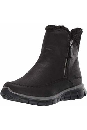 Skechers Women's Synergy Ankle Boots, ( Micro Leather/Faux Sherpa BBK)