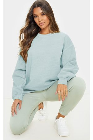 PRETTYLITTLETHING Sage Khaki Washed Ultimate Oversized Sweater
