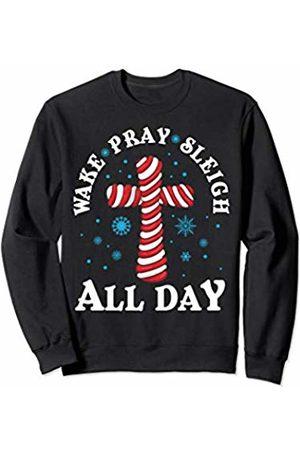 Christian Christmas Tees NYC Wake Pray Sleigh Christian Christmas Candy Cane Cross Kids Sweatshirt