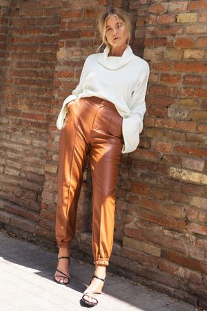 NASTY GAL Women Joggers - Womens Faux Leather Cuffed Seam Joggers