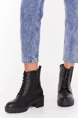 NASTY GAL Womens Together Faux Leather Lace-Up Boots - - 3