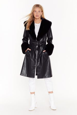 NASTY GAL Womens I'm That Girl Faux Fur Collar Trench Coat - - 6
