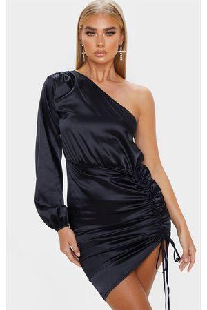 PRETTYLITTLETHING One Shoulder Ruched Satin Bodycon Dress