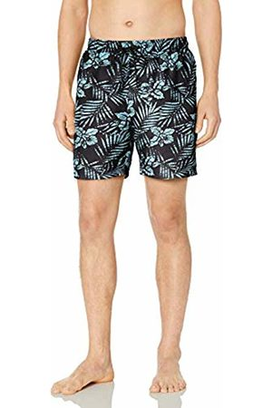 "28 Palms 6"" Inseam Tropical Hawaiian Print Swim Trunk Charcoal/ Hibiscus Floral"