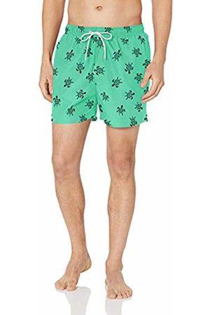 "28 Palms 4.5"" Inseam Tropical Hawaiian Print Swim Trunk Teal/ Turtle"