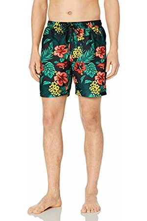 "28 Palms 6"" Inseam Tropical Hawaiian Print Swim Trunk Charcoal/ Hibiscus Floral"