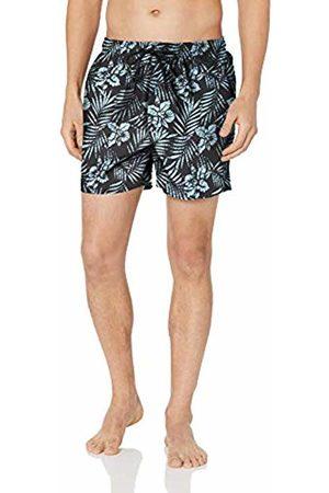 "28 Palms 4.5"" Inseam Tropical Hawaiian Print Swim Trunk Charcoal/ Hibiscus Floral"