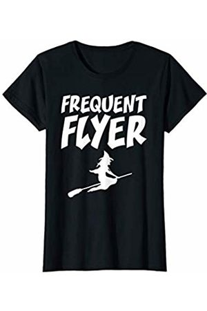 Cute Funny Halloween Witch Costume For Women Co. Womens Cute Funny Halloween Witch Costume For Women Frequent Flyer T-Shirt