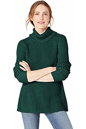 Goodthreads Cotton Half-Cardigan Stitch Turtleneck Sweater Pullover