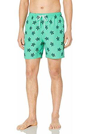 "28 Palms 6"" Inseam Tropical Hawaiian Print Swim Trunk Teal/ Turtle"