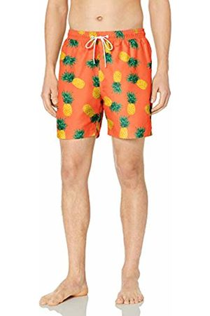 "28 Palms 6"" Inseam Tropical Hawaiian Print Swim Trunk Coral Pineapple"