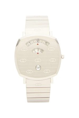 Gucci Grip Logo-engraved Stainless-steel Watch - Mens