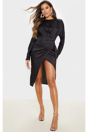 PRETTYLITTLETHING Satin Wrap Skirt Backless Midi Dress