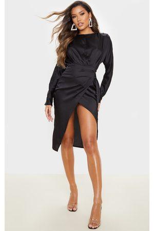PRETTYLITTLETHING Women Party Dresses - Satin Wrap Skirt Backless Midi Dress