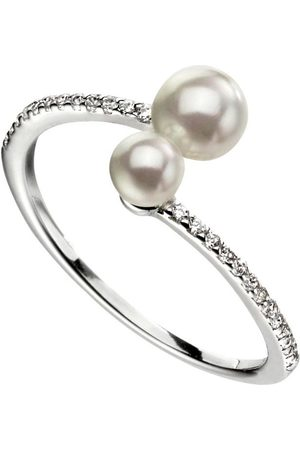 The Love Silver Collection Sterling Silver Double Pearl Ring With Pave Set Shoulders