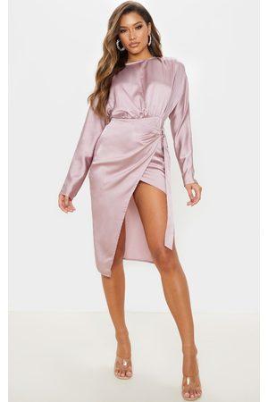 PRETTYLITTLETHING Women Party Dresses - Mauve Satin Wrap Skirt Backless Midi Dress