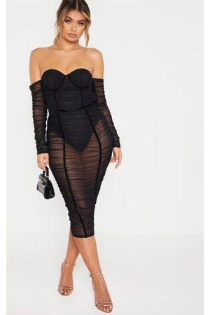 PRETTYLITTLETHING Mesh Ruched Velvet Binded Bardot Midi Dress
