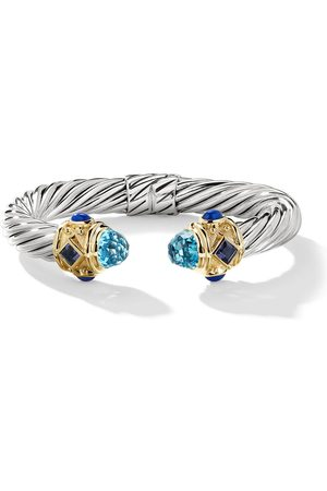 David Yurman Silver and 14kt yellow gold Renaissance Cable topaz, iolite and lapis lazuli cuff - S4EBTIOLA
