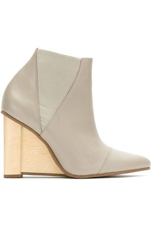 Studio Chofakian Leather wedge boots - Neutrals
