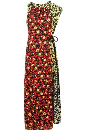 Proenza Schouler Multi Floral Asymmetrical Dress - POPPY WILDFLOWER
