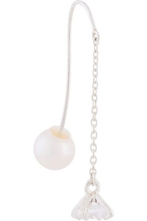 E.M. Crystal and pearl drop chain earring - Metallic