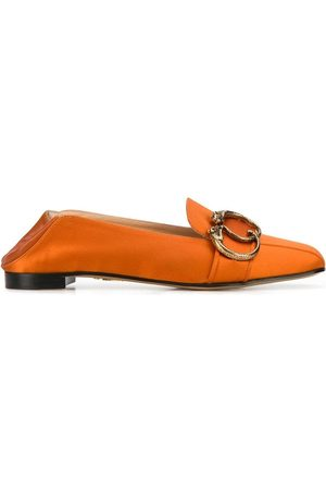 Charlotte Olympia Collapsible heel satin loafers