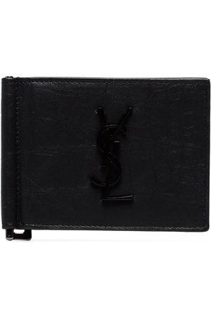 Saint Laurent Crocodile-embossed money clip wallet