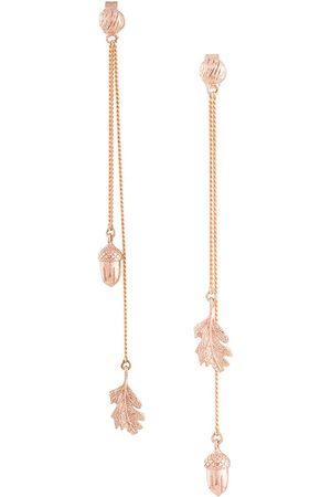 Karen Walker Women Earrings - Acorn & leaf pendulum earrings - Metallic