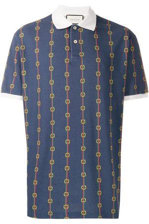Gucci Men Polo Shirts - Horsebit chain print oversized polo shirt