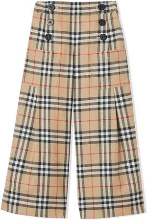 Burberry Vintage Check Wool Sailor Trousers - NEUTRALS